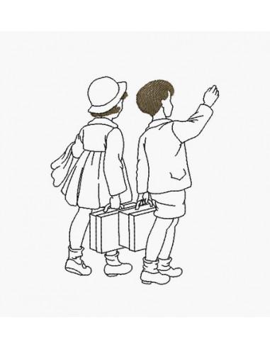 Motif de broderie machine enfants en vacances