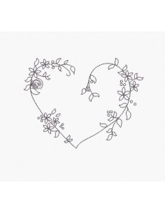 Instant download machine embroidery heart flower