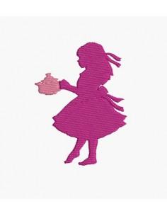 Motif de broderie machine fille servant le thé