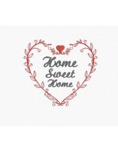 Motif de broderie machine coeur home sweet home