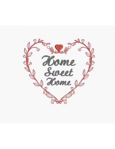 Instant download machine embroidery heart home sweet home