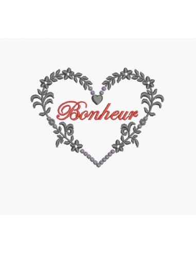 Motif de broderie machine coeur romantique