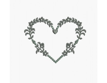 Instant download machine embroidery romantic heart