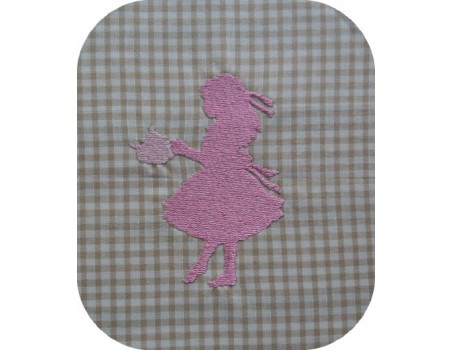 Instant download machine embroidery girl serving tea