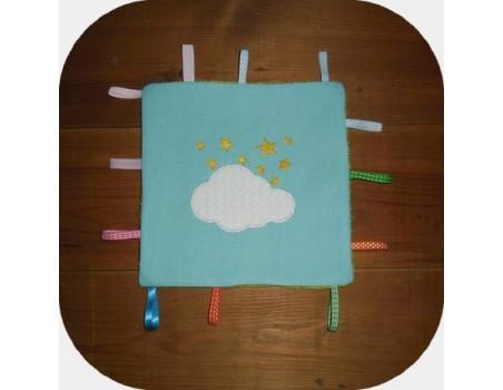 Motif de broderie machine nuage appliqué avec étoiles