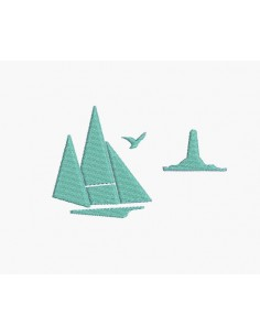 Instant download machine embroidery sailboat with a lighthouse