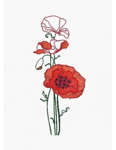 Instant download machine embroidery poppy flower