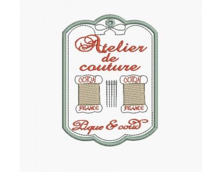 Motif de broderie machine atelier de couture coton