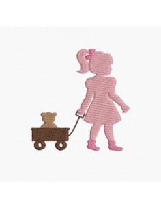 Motif de broderie machine fille et son chariot