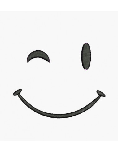 Motif de broderie machine smiley clin d'oeil