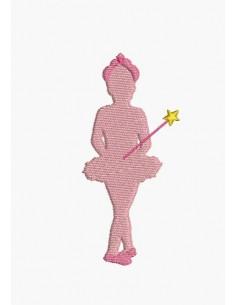 Motif de broderie machine silhouette danseuse fée étoile