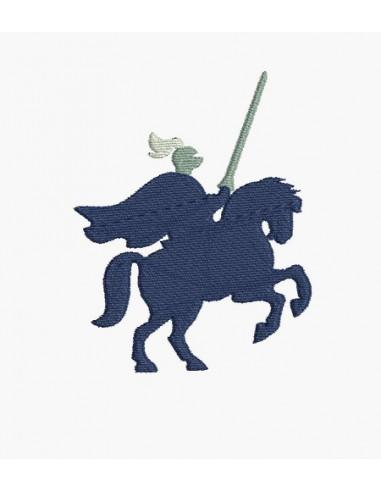 Motif de broderie machine silhouette chevalier