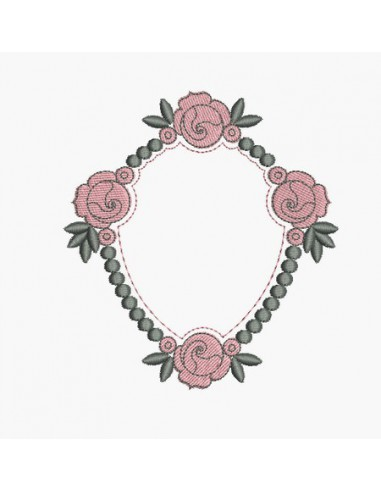 Instant download machine embroidery design Frame medallion roses