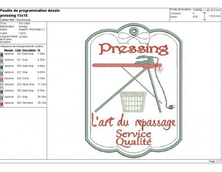 Motif de broderie machine étiquette pressing
