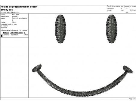 Motif de broderie machine smiley sourire