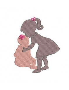 Instant download machine embroidery design kiss sisters