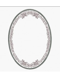 Instant download machine embroidery design applique oval frame garland of flowers