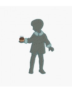 Instant download machine embroidery design boy with cake birthday