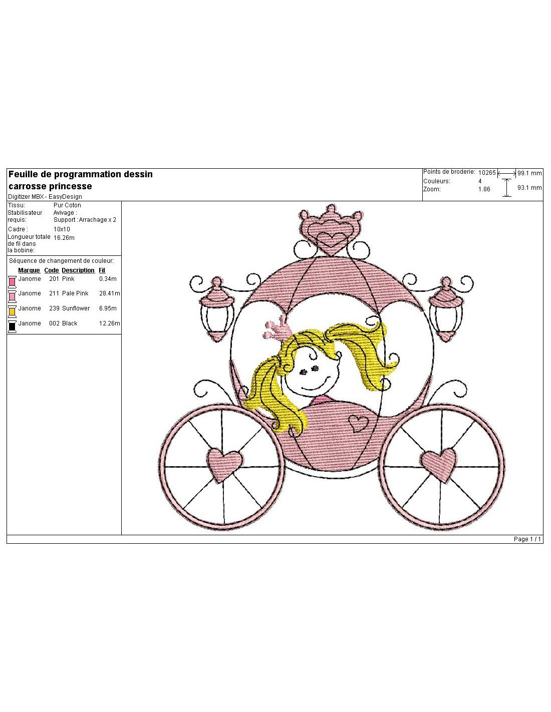 Motif De Broderie Machine Carrosse De Princesse Alice Broderie