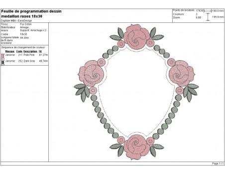 Motif de broderie machine médaillon aux roses