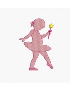 Motif de broderie machine silhouette petite danseuse
