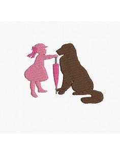 Motif de broderie machine silhouette fille avec son gros chien