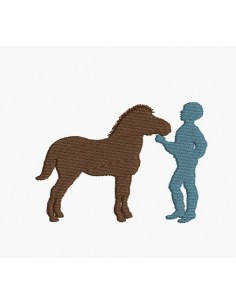 Instant download machine embroidery boy with her pony