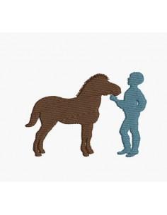 Motif de broderie machine silhouette garçon avec son poney