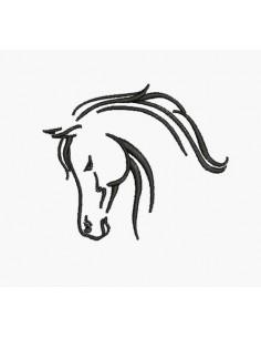 Motif de broderie machine profil cheval