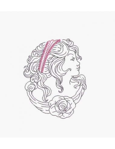 Instant download machine embroidery design cameo retro