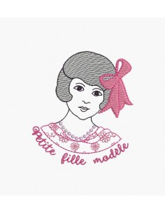 Instant download machine embroidery design girl model