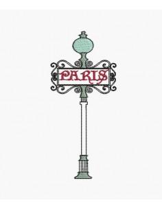 Motif de broderie machine Paris lampadaire métro
