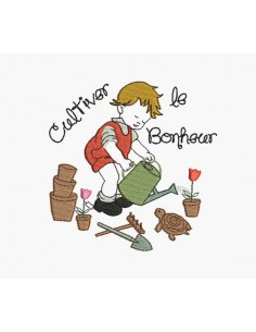Instant download machine embroidery design little gardener