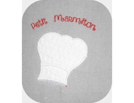 Motif de broderie machine toque de cuisinier