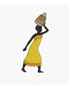 Motif de broderie machine femme africaine vase