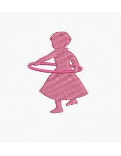 Motif de broderie machine silhouette fille avec un cerceau