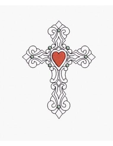 Motif de broderie machine croix coeur