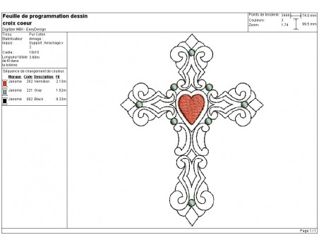 Instant download machine embroidery design cross heart