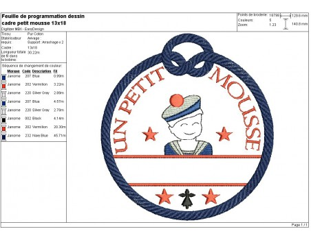 Instant download machine embroidery design little sailor customizable