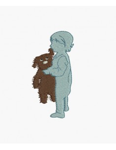 Motif de broderie machine enfant avec son ourson