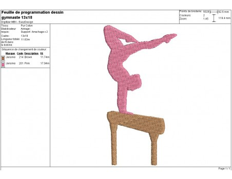 Instant download machine embroidery design gymnast figure