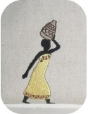 Instant download machine embroidery design African woman with a vase