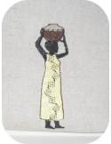 Motif de broderie machine femme africaine poterie