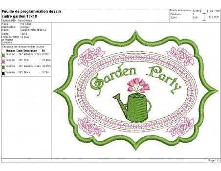 Motif de broderie machine étiquette Garden