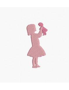 Motif de broderie machine silhouette fille jouant à la poupée