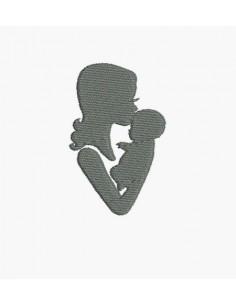 Motif de broderie machine maman et son bébé