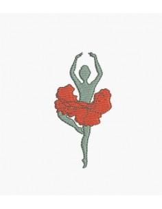 Motif de broderie machine danseuse coquelicot