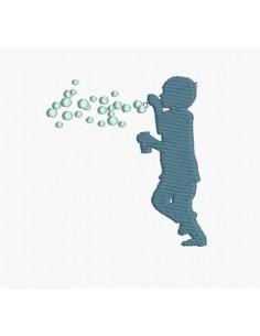 Motif de broderie machine garçon aux bulles de savon