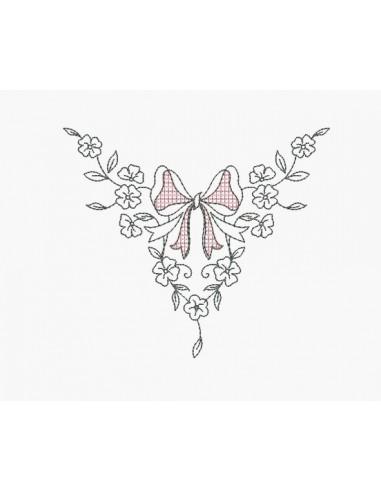 Motif de broderie machine ruban aux fleurs
