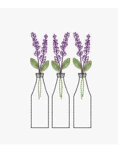 Instant download machine embroidery design  lavender bottle